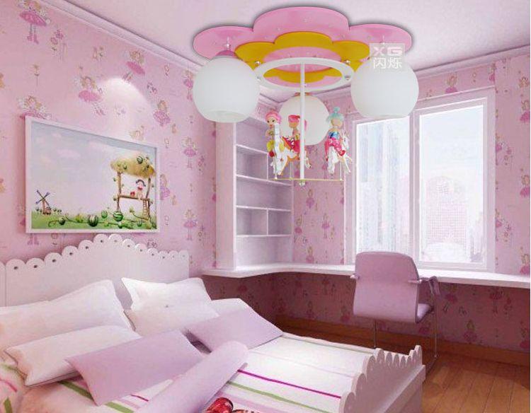 carrusel led lmpara de dibujos animados nia habitacin araa nios nios dormitorio infantil techo con lmparas