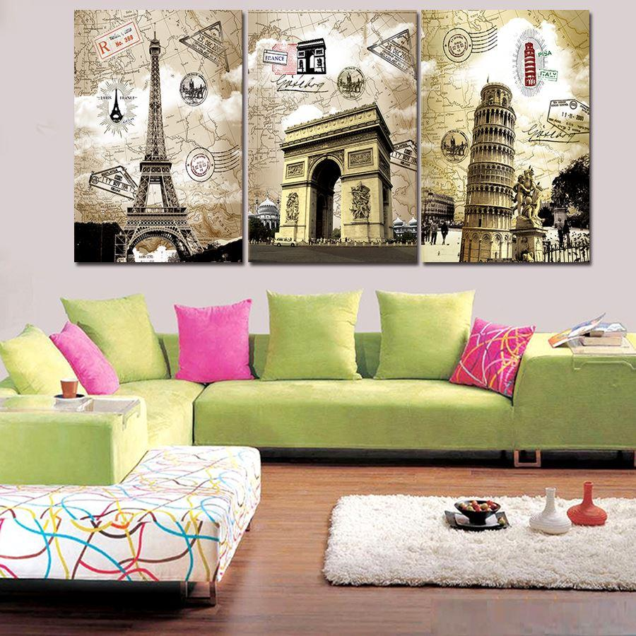 High Quality 3 Panels Home Decor Wall Art Painting Prints Of Artwork Modern London City Painting Living Room Wall Art Canvas