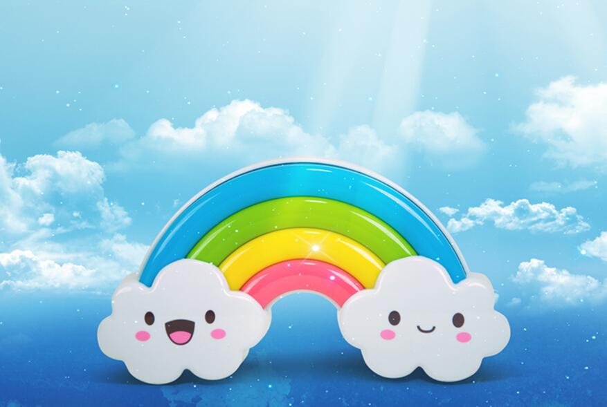 Rainbow LED night light, creative energy-voice mobile power battery installed nightlights DIY Wall Stickers moving light source