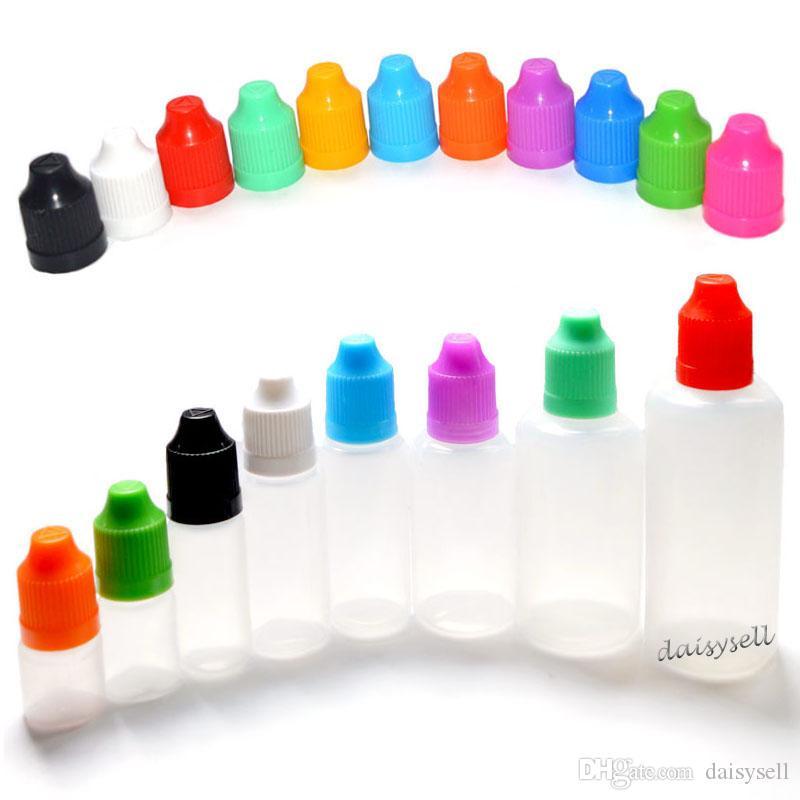 E-сигарета пластиковые бутылки капельницы с восковыми CAP и длинный тонкий Совет пустой флакон 3мл 5мл 10мл 15мл 20мл 30мл 50мл e-жидкость бутылки