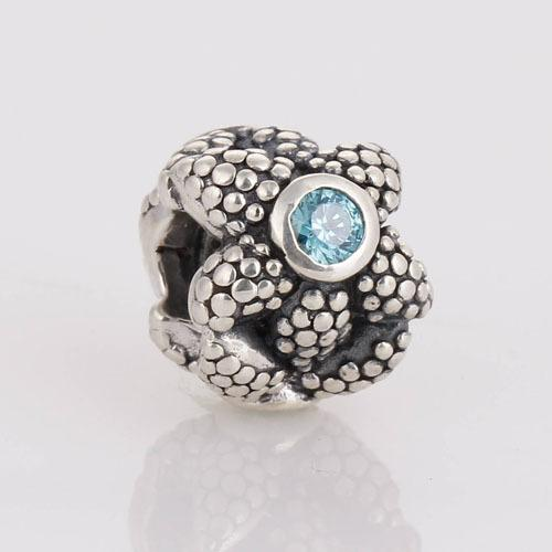 100% 925 Sterling Silver Starfish Bead Ball with Sapphire Blue Crystal Charm Beads Fits Pandora Bracelets & Necklaces LW250