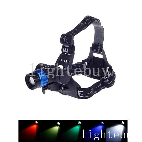 wholesale Zoomable Headlamp 1800LM XML T6 LED Bicycle Light Lens blue green red yellow Free Shipping