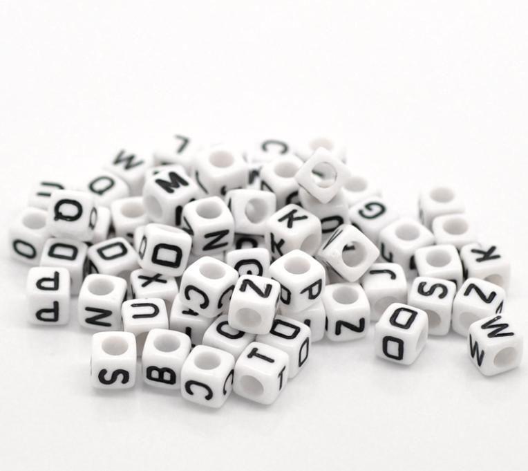 """Mieszany biały alfabet / list Kostki Akrylowe 6x6mm (1/4 """"X1 / 4""""), 500 sztuk (B18077), Yiwu"""