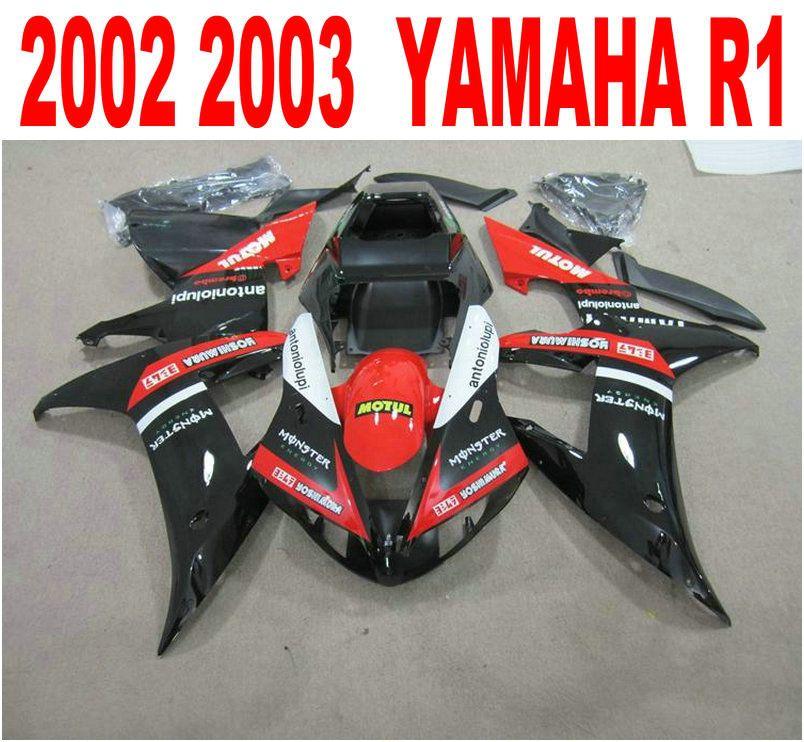 Injection molding free customize fairing kit for YAMAHA fairings YZF-R1 2002 2003 red black bodywork set YZF R1 02 03 XQ2