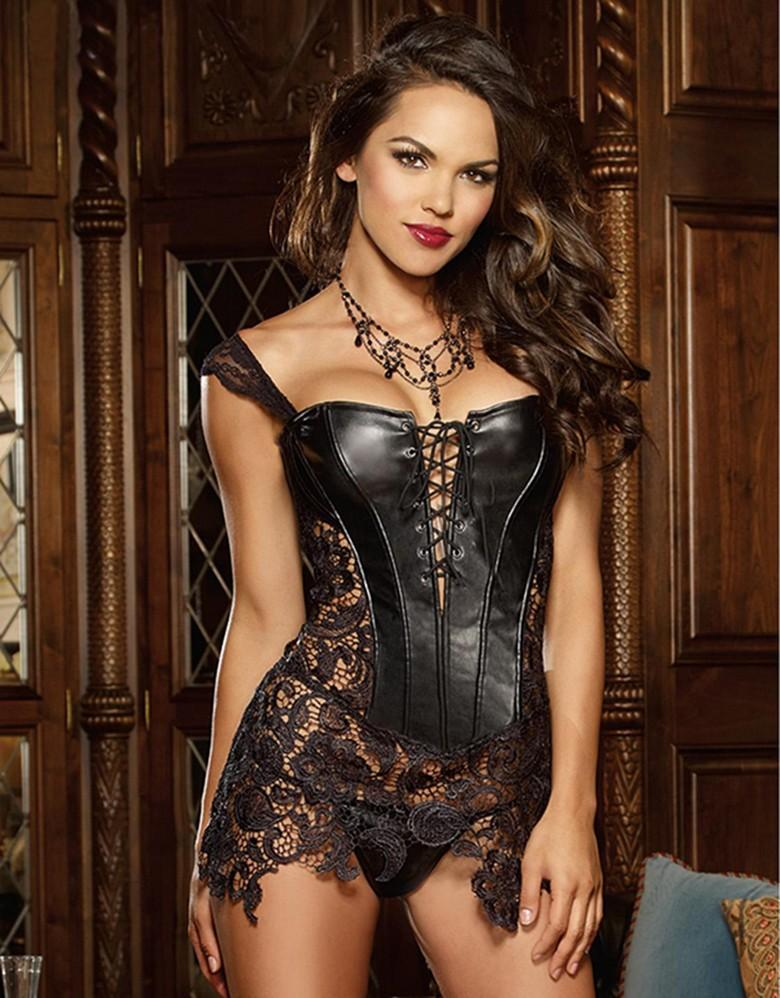 Free shipping! Sexy Women Corset With Thong sexy lace shoulder strap Back zipper corset shaper Faux Leather corset 8280