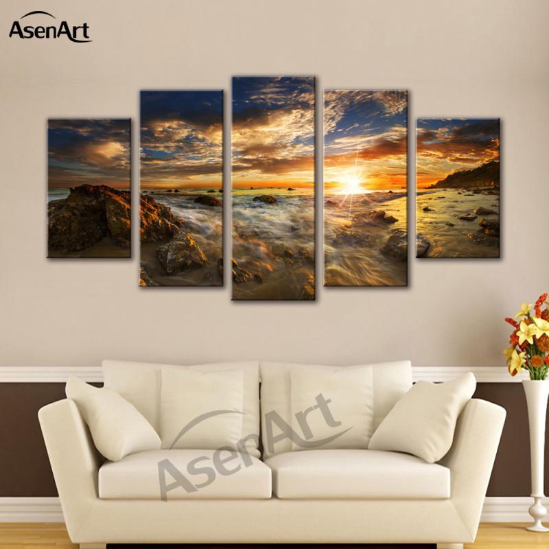 Großhandel 5 Stücke Bild Meer Sonnenuntergang Landschaftsmalerei Seascape  Leinwand Kunstdruck Gerahmte Bilder Für Wohnzimmer Gerahmte Fertig Zum ...