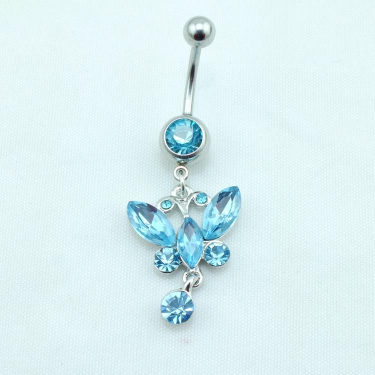 Senaste Fashion Belly Button Ringar 316L Rostfritt Stål Dangle Blue Crystal Butterfly Navel Body Piercing Smycken