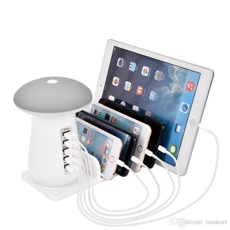 5pcs 최신 QC3.0 빠른 충전 버섯 빛 충전기 책상 램프 5 포트 모든 전화에 대 한 USB 충전기 데스크탑 전화 홀더