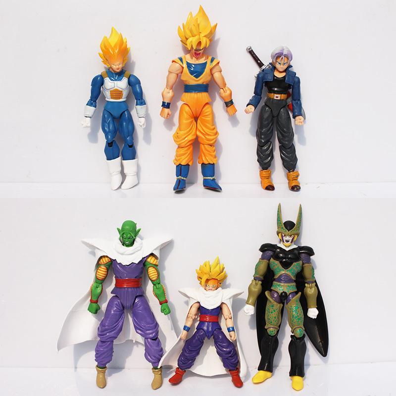 6pcs/set Dragon Ball Z Joint Movable Vegeta Piccolo Son Gohan Son Goku Trunks PVC Action Figure Toys
