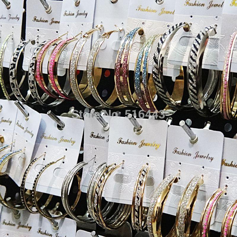 Misturar Estilo 12 pares Freeshipping Moda Venda Quente Fosco Prata Ouro Brincos de Argola para As Mulheres Por Atacado Lotes de Jóias A1049