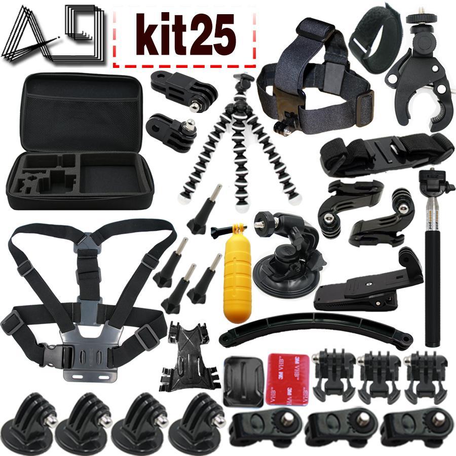 Kit de accesorios de envío gratuito Conjunto de montaje para Go Pro SJcam SJ4000 Xiaomi yi 4k Sony cámara de acción eken h9 y toda la cámara de acción