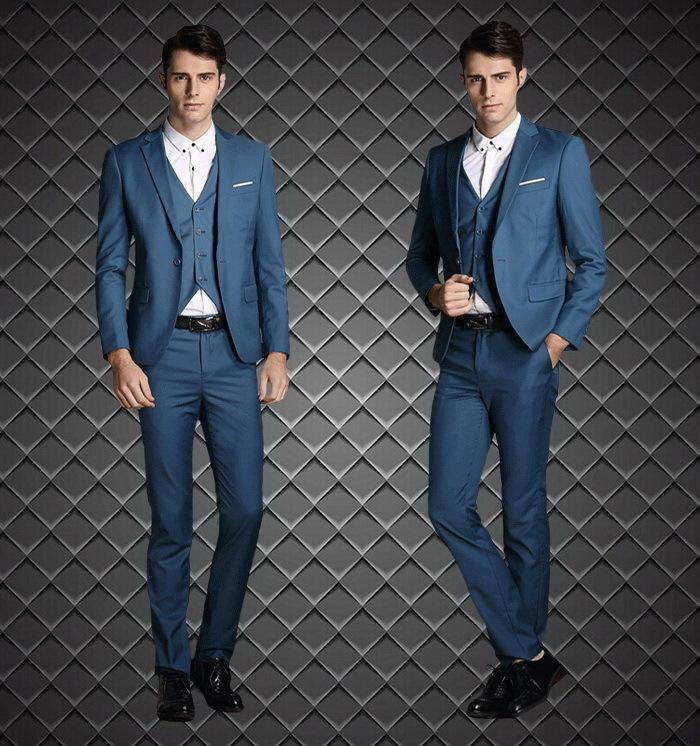 2015 Fashion Slim Fit Groom Tuxedos Dark Blue Custom Made Groomsmen Best Man Men Wedding Suits Prom Tuxedos ( Jacket+Pants+Vest+Tie+Hanky)