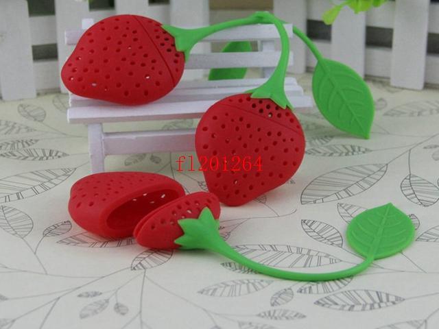 700pcs / lot 페덱스 DHL FreeShipping 실리콘 딸기 디자인 느슨한 차 잎 여과기 초본 향신료 Infuser 필터 도구