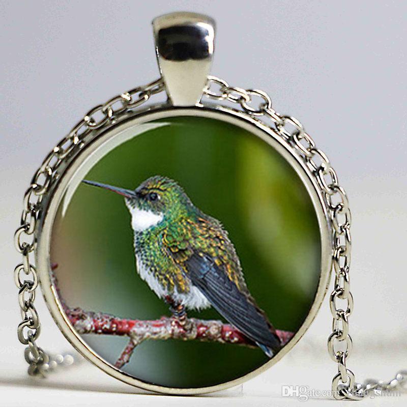 Muito colar Hummingbird, pequeno pássaro colorido colar de impressão foto colar de pássaro