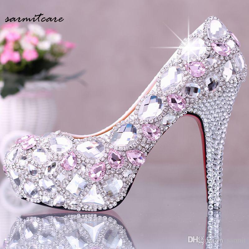 W010 Hecho a mano Rhinestones Cubierta Plataforma Cubierta Opciones Multi-altura Tacones Altos Zapatos de boda blancos Cuero de cerdo Cuero interior Zapatos de San Valentín