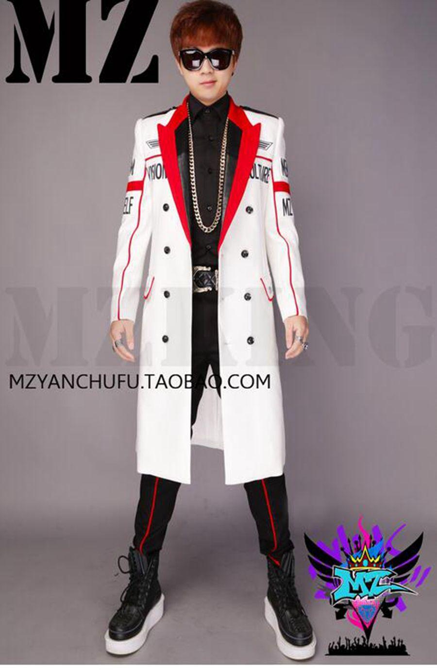 الذكور المدرج ملهى ليلي الأزياء المدرج تبدو بيضاء ، رسائل سوداء مزدوجة الصدر دعوى ازياء طويلة المال. S - 6 xl