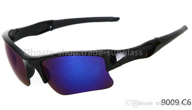 Llegada deportiva Negro Nuevo Marco / Azul Fábrica Precio 9 Marca Gafas de sol Gafas de sol Espejo Color de moda Ciclismo Colores Lente Me TKVQE