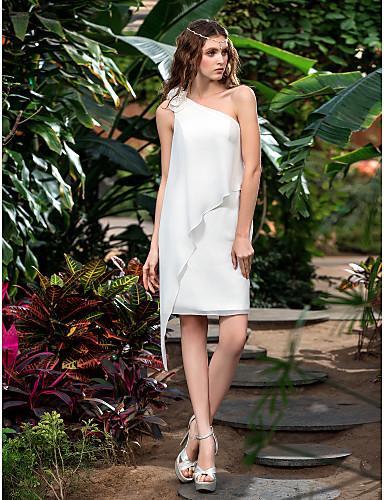 2016 New Fashion Popular Free Shipping Ivory Short/Mini One Shoulder Flowers Chiffon Sheath/Column Outdoor Wedding Dresses 166