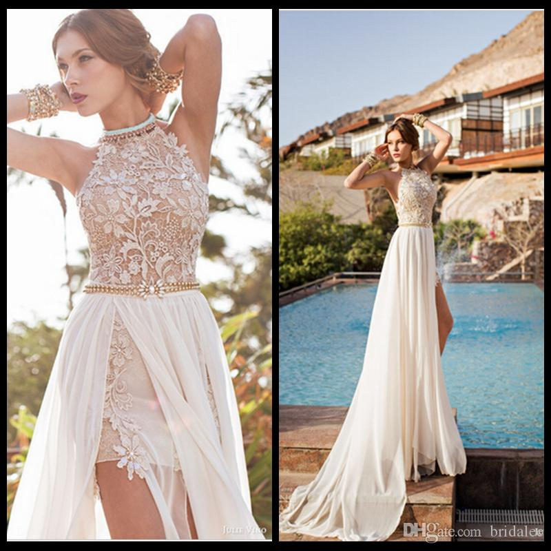 Romantic Julie Vino Lace Beaded Chiffon High Low White Lace Prom Dress Long 2016 Party Dress Side Slit Spring Evening Party Gown Very Prom Dresses