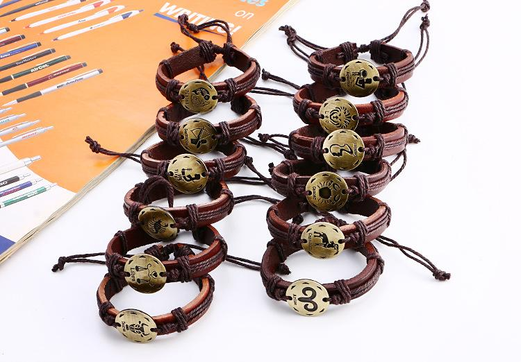 2016 fashion accessories twelve constellation handmade lovers Leather Bracelet