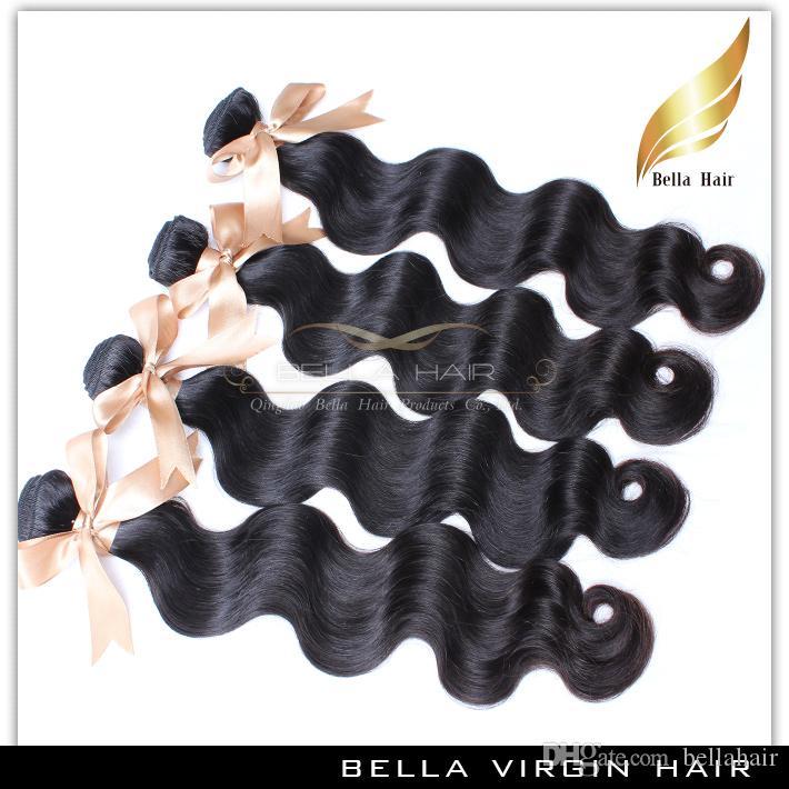 Бразильские наращивание волос пучки тела волна волос ткачество 10-34 дюйма 4шт естественный цвет человеческих волос ткет Bellahair