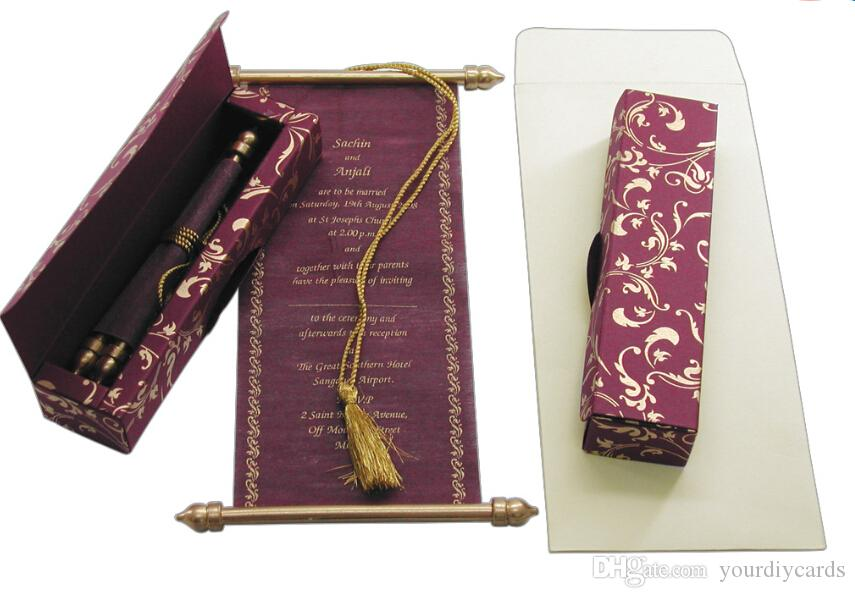 Scroll Wedding Invitations Card Wholesale Party Wedding India Rose ...