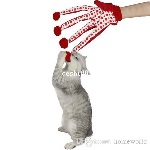 Colore rosso del giocattolo del guanto del graffio dei giocattoli del gatto di Polka Dot dei giocattoli animali domestici adorabili della palla dell'animale domestico bello libero Trasporto libero
