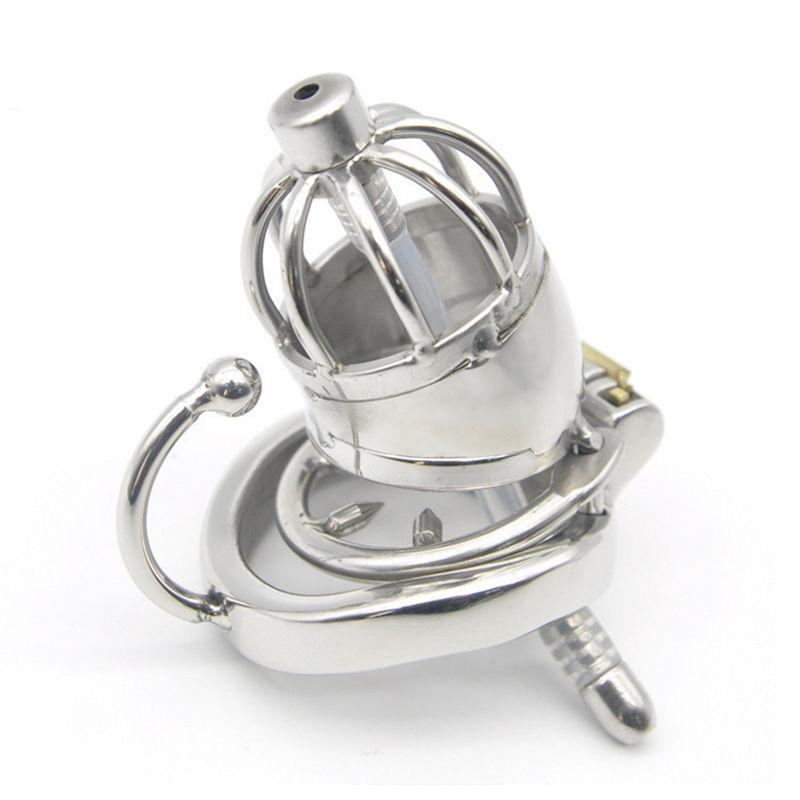 NEW #T89 Steel Short Metal Male Ureter Lock Chastity Device Pipe Cage Stainless Dxrdd
