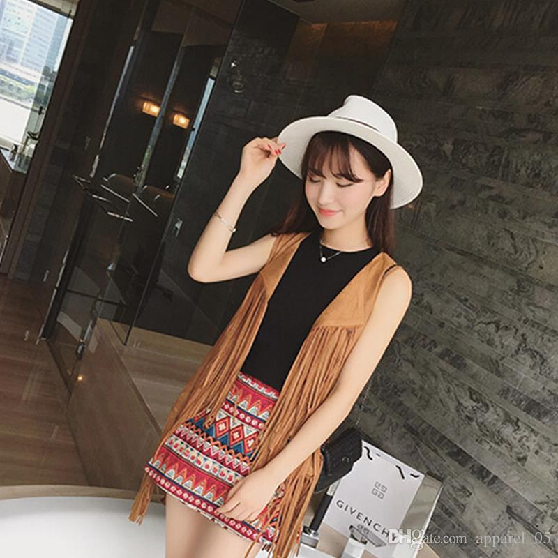 2016 Fashion Autumn Wild Retro Women Tops Casual Western Vintage Style Fringed tassel Vest women
