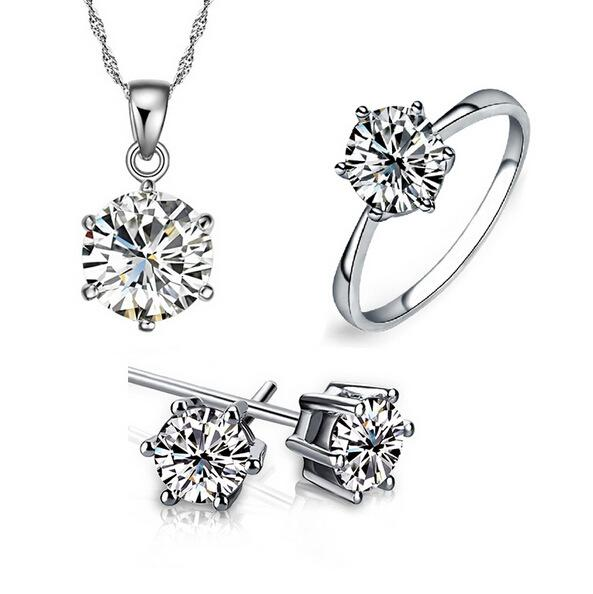 Conjunto de joyas de dama de honor para bodas de oro como cadenas de plata esterlina 925 Collar colgante Pendiente para mujeres Anillos de piedras preciosas Juegos de joyas para fiestas