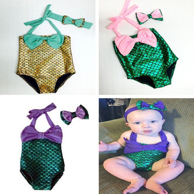 Baby-Kleidung-Kind-Mädchen-Badebekleidung Little Mermaid Bikini-Satz-Sommer-Strand-Badeanzug mit Bowknotstirnband Mädchen Badeanzug Badeanzug