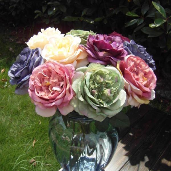 Singola testa artificiale finta seta fioritura rosa floreale fiore foglia Bouquet Garden Decor Disposizione dei fiori Artigianato art