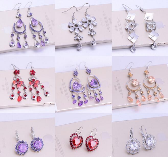 10 pares / lote Mix Estilo de cristal Zircônia Brinco Dangle Chandelier para Craft Moda Jóias Presente EA030