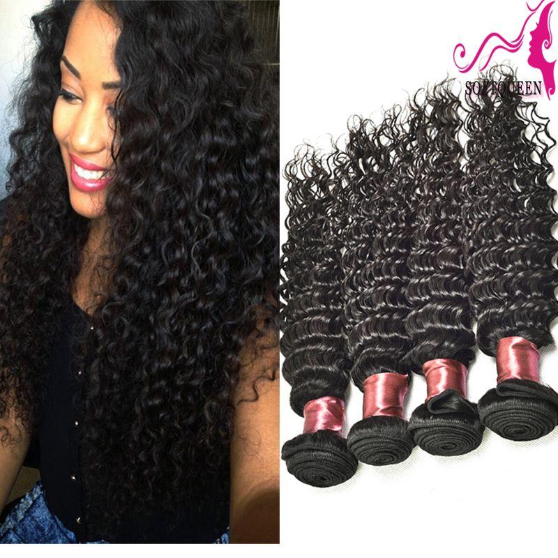뜨거운 판매 페루 깊은 물결 모양의 버진 머리카락 학년 7a 학년 페루 버진 머리 깊은 곱슬 웨이브 헤어 익스텐션 4pcs / lot 염색 수 있습니다