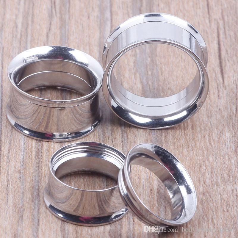 Misture 5-20 mM 36pcs Aço Inoxidável Corpo jóias duplo alargamento rosca internamente Flesh Tunnel prata tampões para os ouvidos