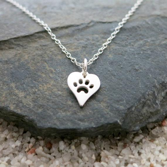10PCS- N094 Gold Silver Dog Paw Print Heart Necklace Pet Puppy Bear Cat Love Paw Necklaces Animal Palm Paw Mark Print Necklaces