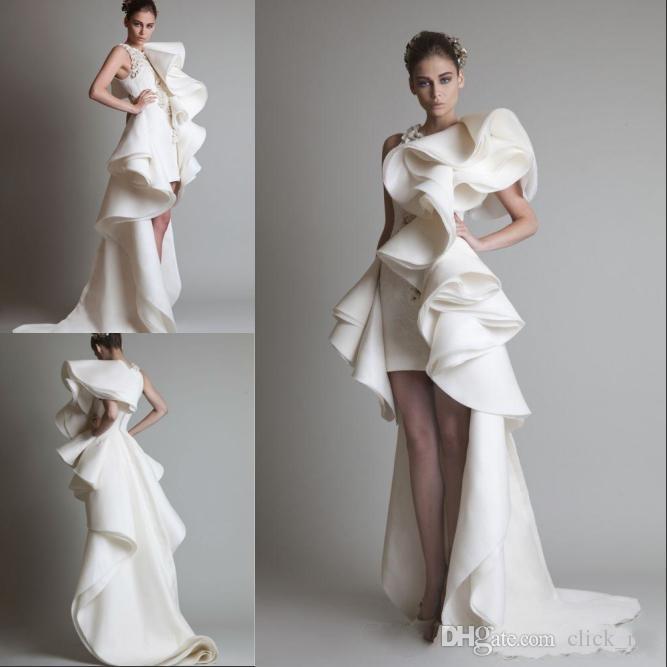 Prom klänningar en axel appliques ruffles mantel hi-lo organza pageant klänning vit elfenben Krikor jabotiska tiered brudklänningar