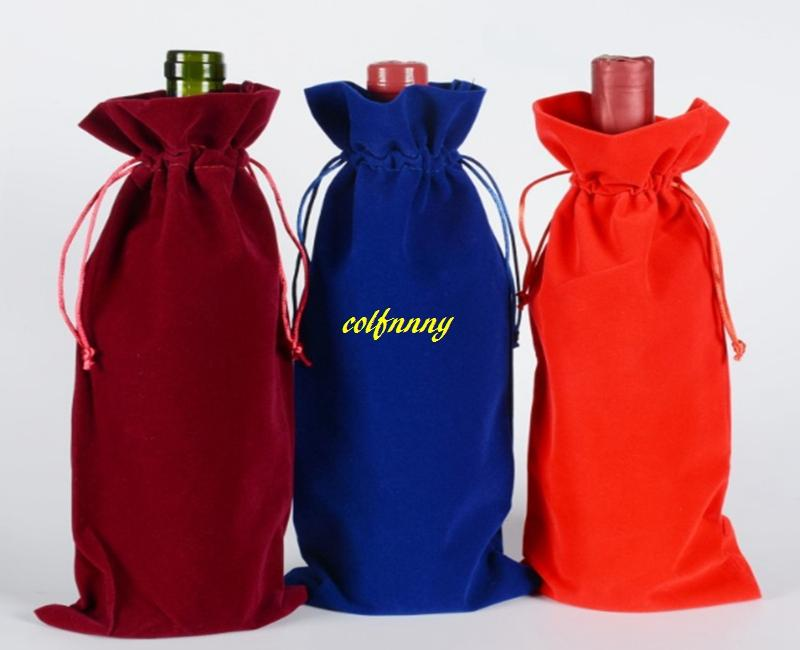 100pcs/lot Fast shipping Flannelette Red Wine Bags Drawstring Wine Bottle Pouch Gift Covers package bag 3 colors