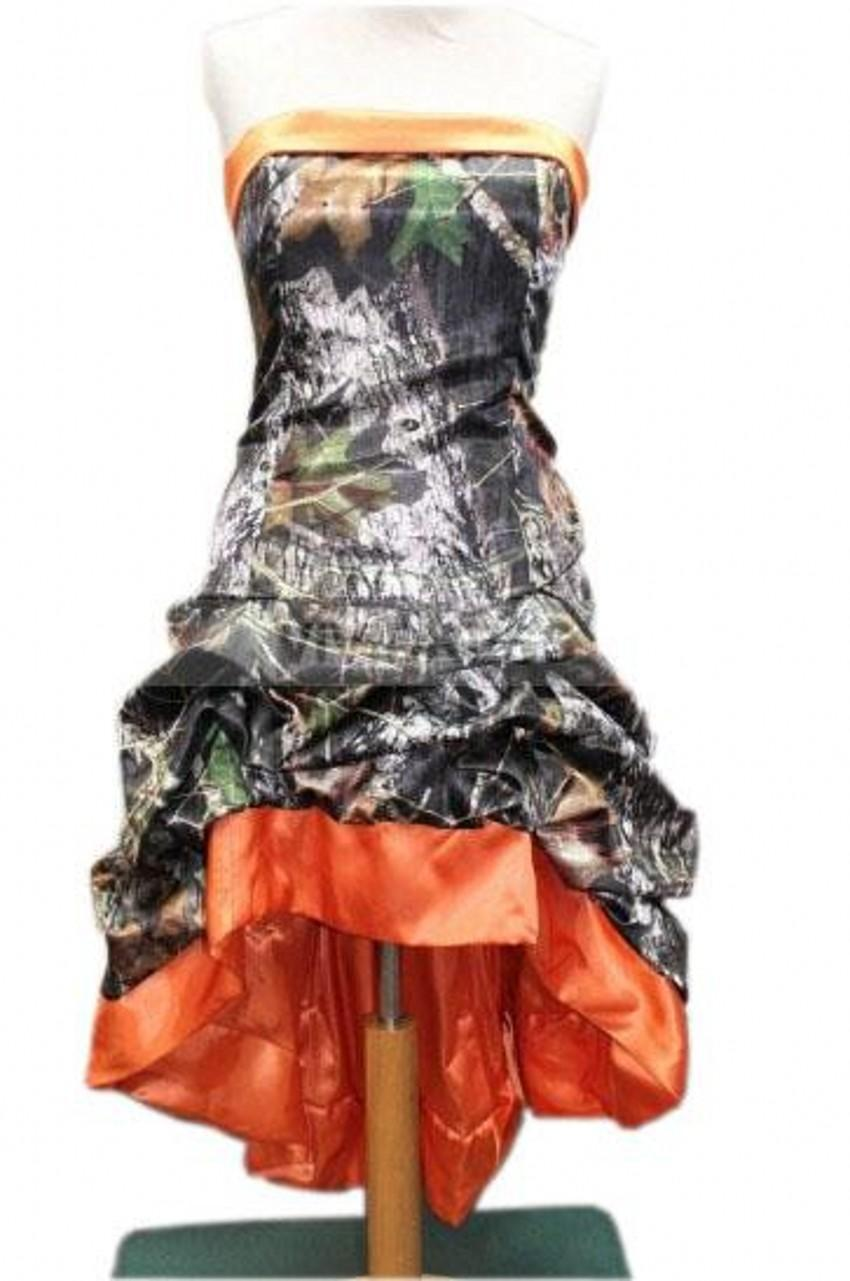 2015 Real Picture Orange Camouflage Wedding Dresses High Low Strapless Short Front Long Back Camo Bridal Gowns Lace Up Wedding Gowns