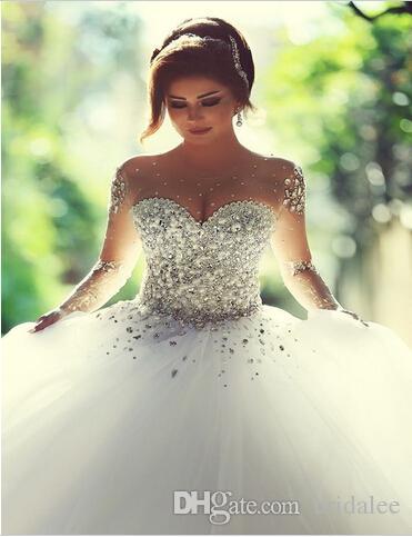 Vestidos De Novia Ball Gown Crystal Beading Tulle Bling Wedding Dresses Sheer Long Sleeve Bridal Dress Custom Made