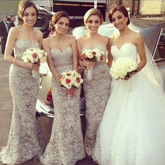 Lace Mermaid Bridesmaids Dresses 2015 Sweetheart Maid of Honor Dress Floor Length Wedding Party Dress Formal Prom Gown with Sash