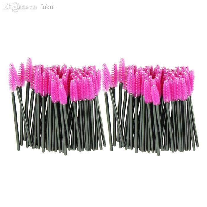 Gros-nouveau 100 pcs / lot rose chaud en fibre synthétique jetable One-Off brosse à cils mascara applicateur baguette brosse à cils faire des outils