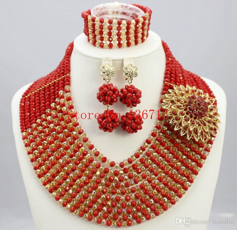 Newest nigerian wedding african beads jewelry sets crystal flower necklace for women 2016 new mixed color fine jewelry SY102-4