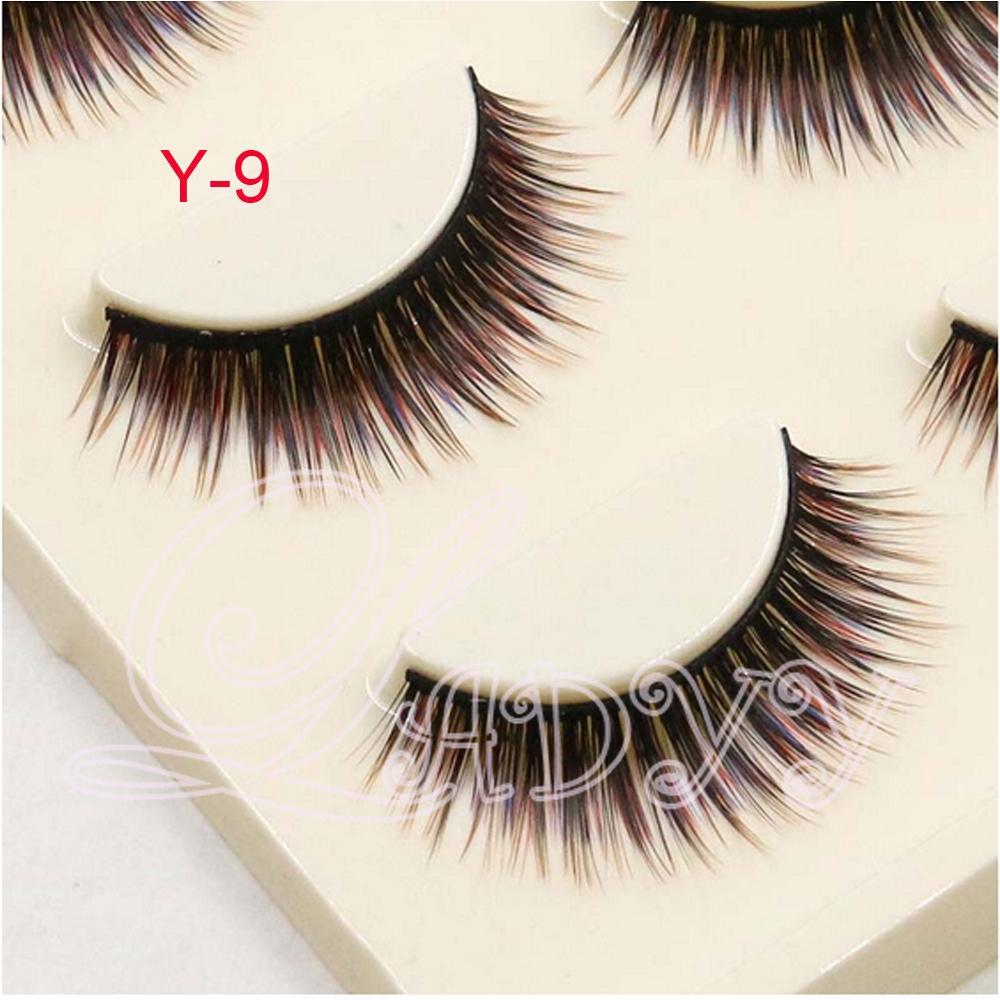 Y-9 레이디 속눈썹 3 쌍 세트 혼합 된 자연 거짓 속눈썹 다채로운 가짜 눈 속눈썹 메이크업 뷰티 도구