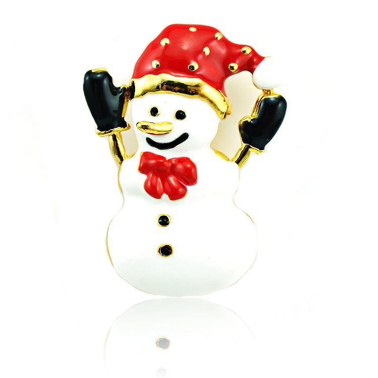 Spille all'ingrosso di alta quantità spille Fashion Red Hat smalto pupazzo di neve placcato oro spille in lega gioielli di decorazione di Natale