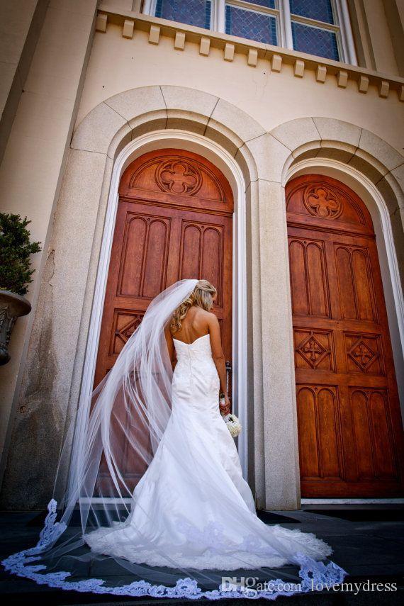 شحن مجاني سخية 2021 الأبيض العاج كاتدرائية الزفاف الحجاب الزفاف لينة تول رخيصة طويل تول بسيط طبقة واحدة رخيصة الزفاف الحجاب