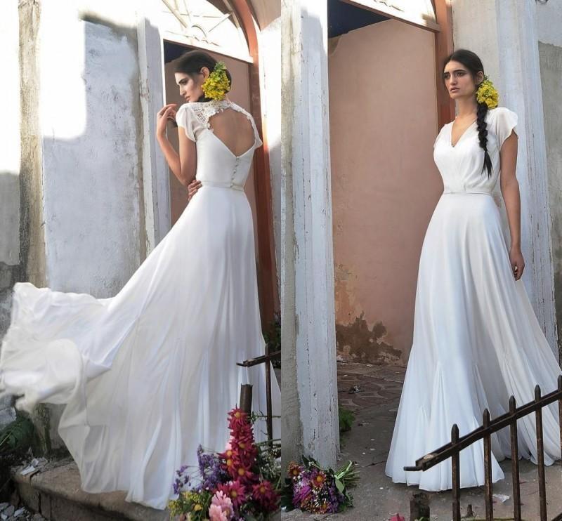 Elegante Chiffon A Line Brautkleider 2016 V-Ausschnitt Backless Bodenlangen Brautkleider Mit Flügelärmeln Nach Maß Brautkleider
