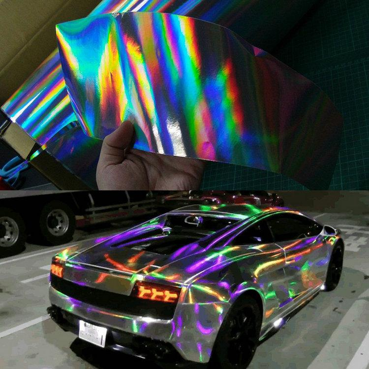 Car Sticker Carbon Fiber Film Vinyl Car Wrap Diy Auto Covering Film Rainbow Laser Plating 50 140cm Fiber Vinyl Best Waterproof Car Covers Block It Car
