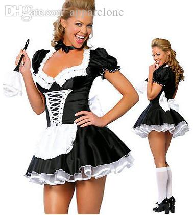 الجملة-زائد النساء مثير أواخر نيت الفرنسية خادمة زي خادمة تأثيري مثير النساء اللباس ملابس غريبة خادمة s-3xl ، 4xl ، 5xl ، 6xl