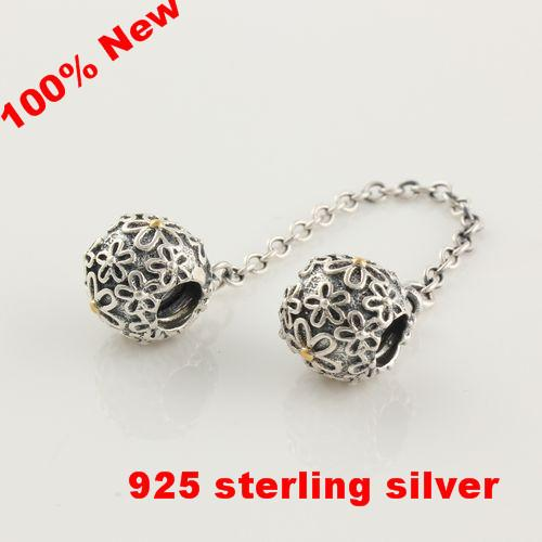 Authentic 925-Sterling-Silver Original Bead Flower Safety Chain Charm DIY Jewelry Fits Pandora European Bracelets & Necklace